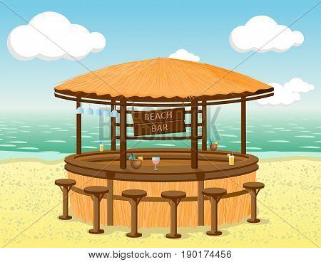 Beach bar on the coastline. Vector illustration.