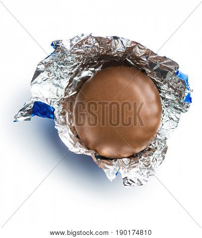 The Chocolate biscuit wrapped in aluminium foil.