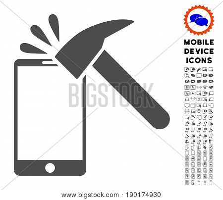Hammer Break Smartphone icon with digital glyph pack. Vector illustration style is a flat iconic symbol, gray colors. Designed for web and software interfaces.
