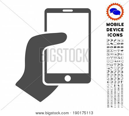 Hand Hold Smartphone icon with mobile communicator icon clipart. Vector illustration style is a flat iconic symbol, gray colors. Designed for web and software interfaces.
