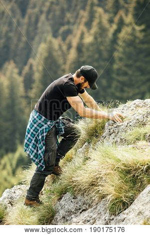 Single Strong Man In The Mountains