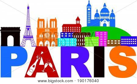 Paris France City Skyline Outline Silhouette Color with Champagne Bottle Glass Isolated on White Background Panorama vector  Illustration