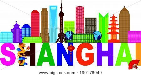 Shanghai China City Skyline Outline Silhouette Color Text Abstract Isolated on White Background vector  Illustration