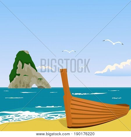 Vector illustration of troical paradise with ocean, palm, beach, boat for turism, travel, hotel business illustration