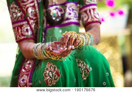 Woman wearing traditional Indian henna and robes