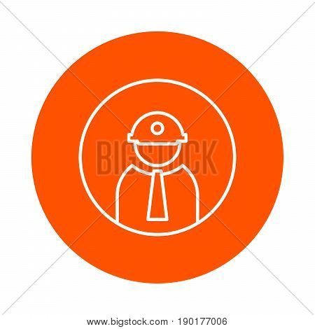 Builder in helmet with lantern and tie vector monochrome round icon flat style.