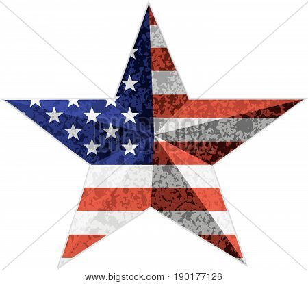 4th of July Independence Day 3D Star Shape with USA American Flag Grunge Texture vector  Illustration