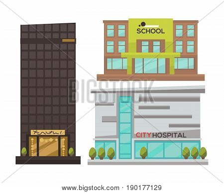 Flat vector set of modern urban architecture. Building and house in city for business and offices, hotel, shop and bank, hospital and store, school and government, restaurant and cafe, skyscraper.