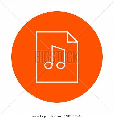 Sheet of paper with curved corner and musical note vector monochrome round icon flat style.