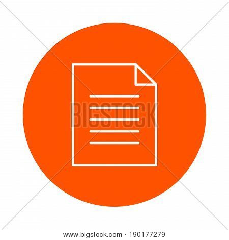 A sheet of paper with a curved corner and a text article a vector monochrome round icon a flat style.