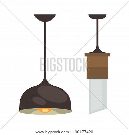 Lamp set isolated. Interior light design. Electricity lamps. Chandeliers Lamps light interior decoration modern and classic style.