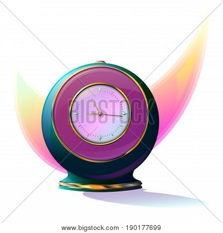 Round clock, alarm clock on the stand. A clock in the form of a ball with gold trim.
