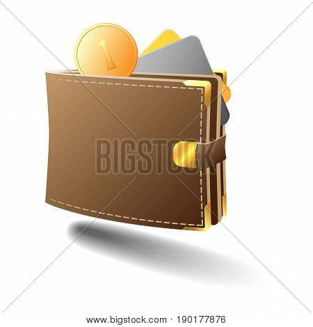 A full wallet with money and credit cards. Wallet with gold trim.