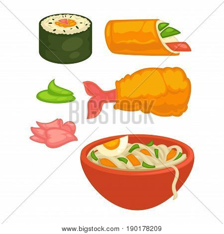 Sushi rolls and Japanese cuisine food snacks, meal and sauces. Vector flat isolated icons of shrimp tempura, ginger or wasabi and seafood noodles in bowl