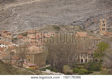 Picturesque village in Spain. Villaroya de los Pinares. Teruel heritage