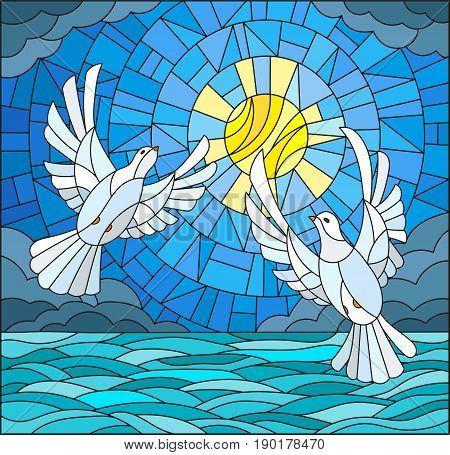 Illustration in stained glass style with a pair of white doves on the background of the daytime sky water and clouds