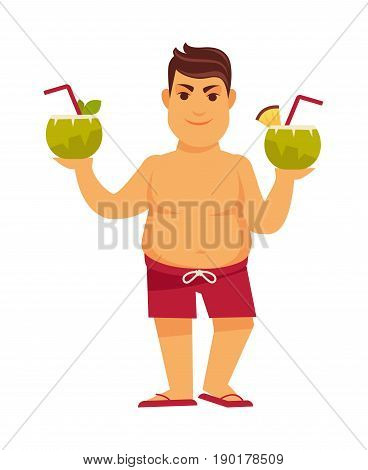 Man at summer beach holding coconut exotic cocktail drinks in hands, in flip-flops and swimming suit. Vector flat isolated icon for summertime holiday vacations party fun and relax