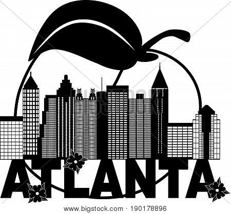 Atlanta Georgia City Skyline Abstract with Peach Dogwood Flowers black and white Text vector  illustration