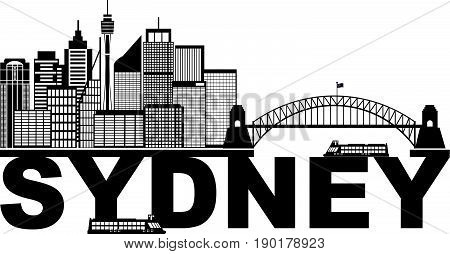 Sydney Australia Skyline Landmarks Harbour Bridge Black Abstract Isolated on White Background vector  Illustration