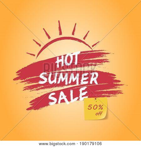 Hot summer sale banner 50% off sign over grunge brush. Vector illustration on orange background.