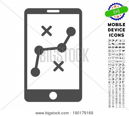 Mobile Navigation Route icon with smartphone icon set. Vector illustration style is a flat iconic symbol, gray colors. Designed for web and software interfaces.