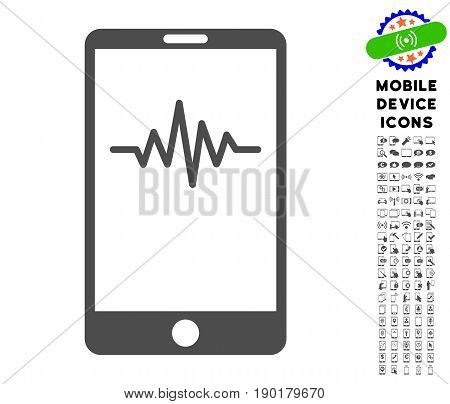 Mobile Signal Graph icon with mobile communicator icon set. Vector illustration style is a flat iconic symbol, gray colors. Designed for web and software interfaces.