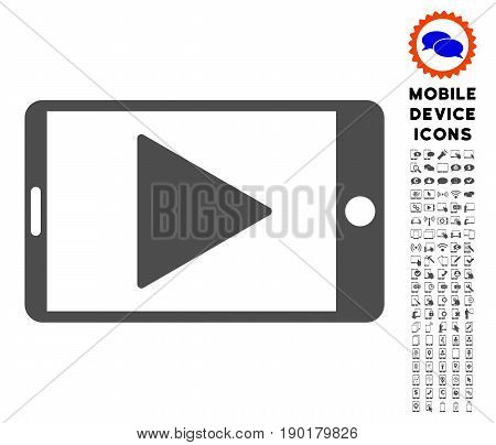 Mobile Start Play icon with digital icon clip art. Vector illustration style is a flat iconic symbol, gray colors. Designed for web and software interfaces.