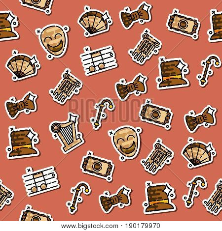 Theater flat icons pattern - drama, comedy, curtain and mask, tragedy Vector illustration
