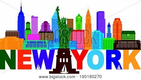 New York City Skyline with Statue of Liberty and text color Outline vector  Illustration