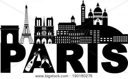 Paris France City Skyline Outline Silhouette with Champagne Bottle Glass Black Isolated on White Background Panorama vector  Illustration