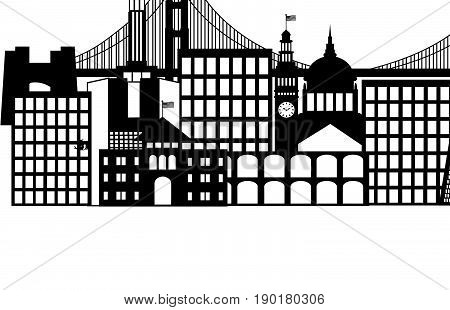 Seattle Washington Downtown City Skyline and Text in Black Isolated on White Background vector Illustration