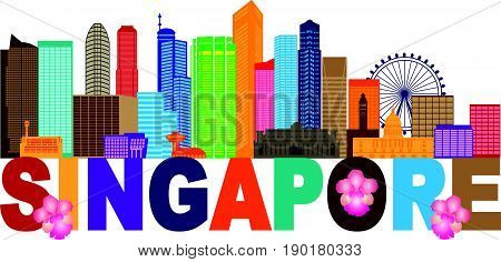 Singapore City Skyline Silhouette Outline Panorama Text Color Isolated on White Background vector  Illustration