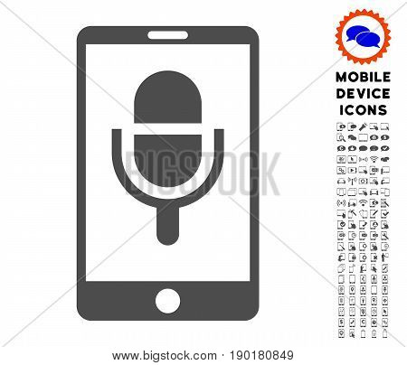 Phone Microphone icon with mobile communicator icon package. Vector illustration style is a flat iconic symbol, gray colors. Designed for web and software interfaces.