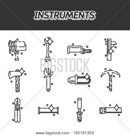 Instruments flat icons set, construction tools icons set.