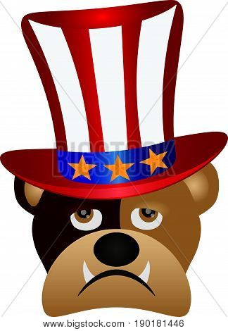 Fourth of July Hat on English Bulldog with Red White Blue Stripes and Gold Stars for 4th July Independence Day vector  Illustration