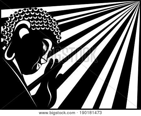 Buddha with raised hand palm and sun light rays in border black and white vector  illustration