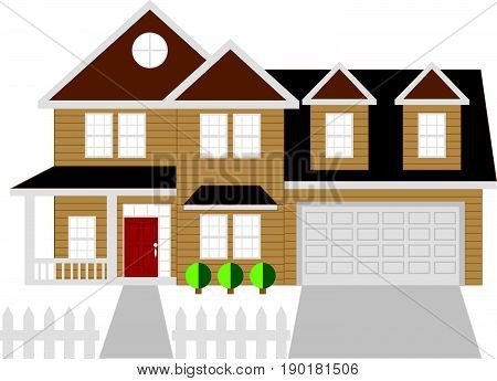 Two level house with two car garage color outline vector  illustration