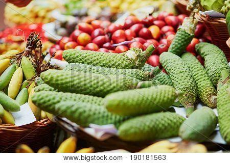 Exotic Fruit Of Monstera Deliciosa On Market Mercado Dos Lavradores, Madeira Island, Portugal