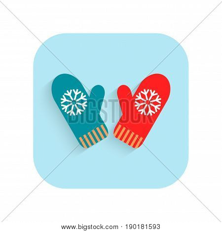 Mittens. Christmas flat icon and holiday symbol. Vector illustration