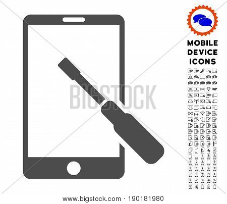 Smartphone Tuning Screwdriver icon with mobile communicator pictogram set. Vector illustration style is a flat iconic symbol, gray colors. Designed for web and software interfaces.