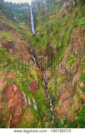 Waterfall In Northern Part Of Madeira Island, Portugal