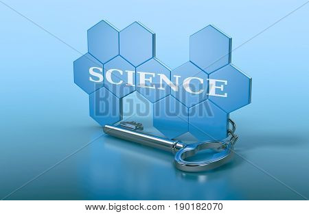 hexagon structure shaped as a keyring with text: science (3d render)