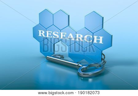 hexagon structure shaped as a keyring with text: research (3d render)