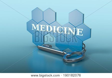 hexagon structure shaped as a keyring with text: medicine (3d render)