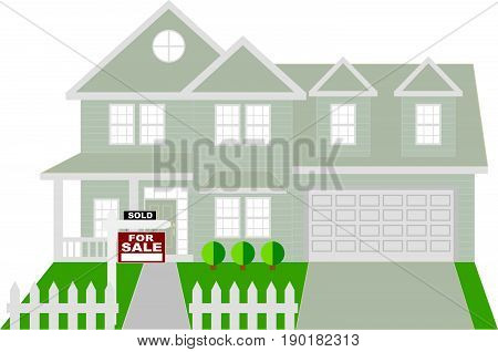 Two level house with two car garage with sold for sale sign on front lawn color outline vector  illustration