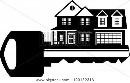 Key to two level new house with two car garage black and white outline abstract vector  illustration