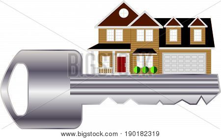 Key to two level house with two car garage color outline abstract vector  illustration