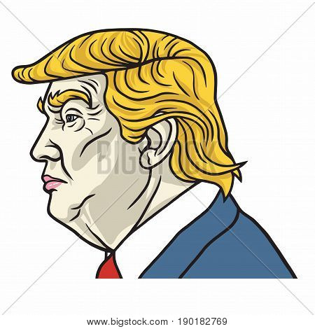 Donald Trump the 45th President. Side View Headshot. Vector Portrait. June 8, 2017