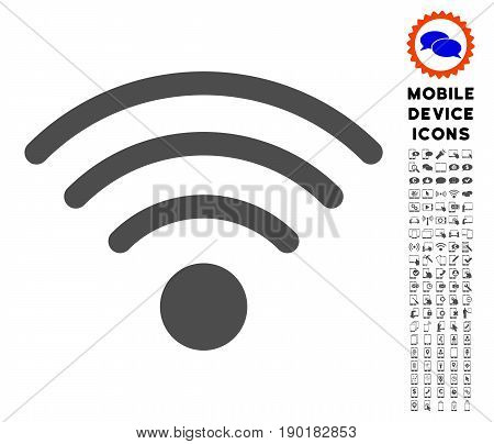 Wi-Fi Source icon with cell phone pictogram package. Vector illustration style is a flat iconic symbol, gray colors. Designed for web and software interfaces.