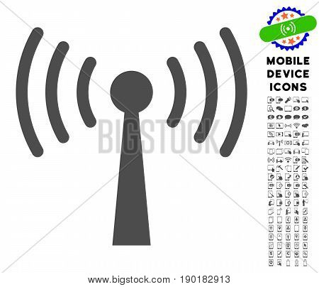 Wi-Fi Station icon with mobile pictogram pack. Vector illustration style is a flat iconic symbol, gray colors. Designed for web and software interfaces.